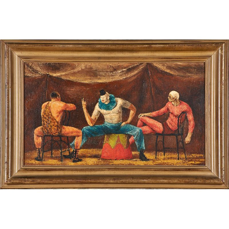 "Lot 2271 - JOSEPH HIRSCH (American, 1910-1981) - Estimate: $2,500 - $3,500 - Entr'acte, 1941 Oil on canvas (framed) Signed and dated to recto, titled on gallery label to verso 14 1/4"" x 23 3/4"""