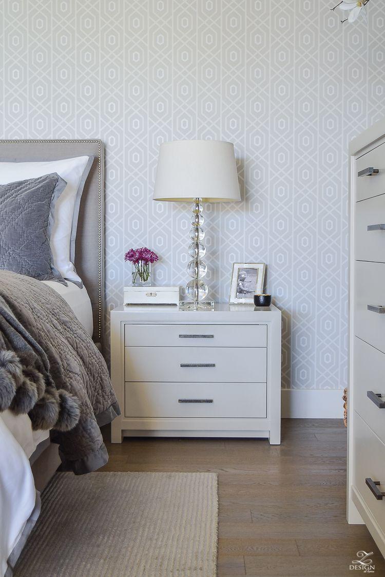Master bedroom nightstand decor  FallWinter Master Bedroom Updates  Gray nightstand Velvet quilt