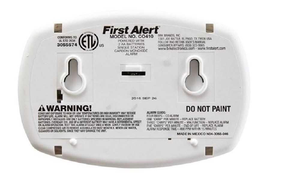 First Alert Co410 Battery Operated Carbon Monoxide Detector Alarm