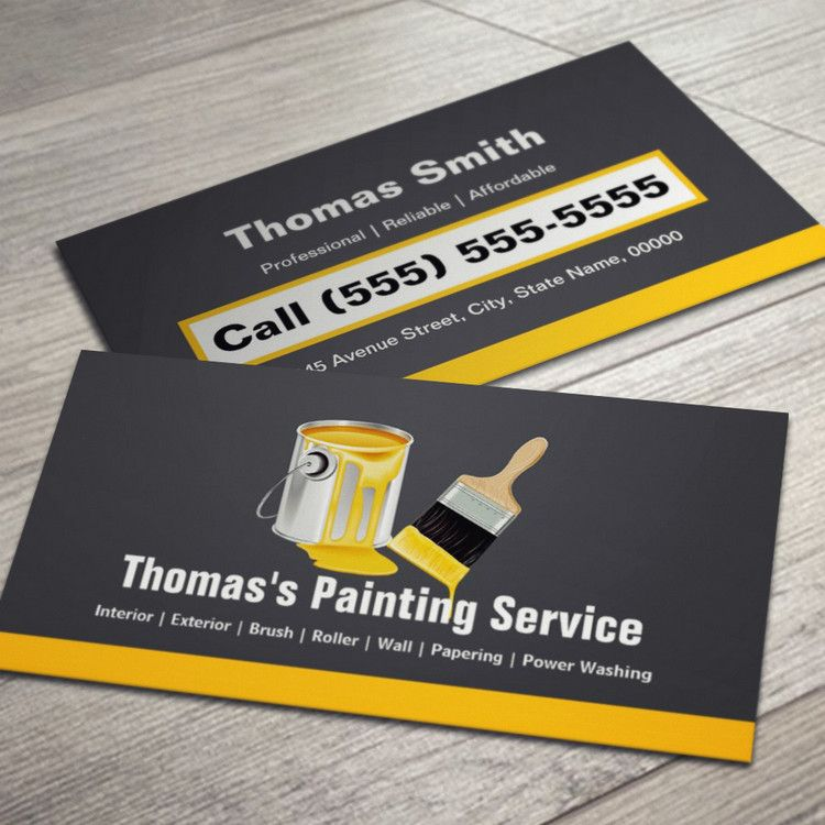 Professional painting service painter paint brush business for Painter business card template