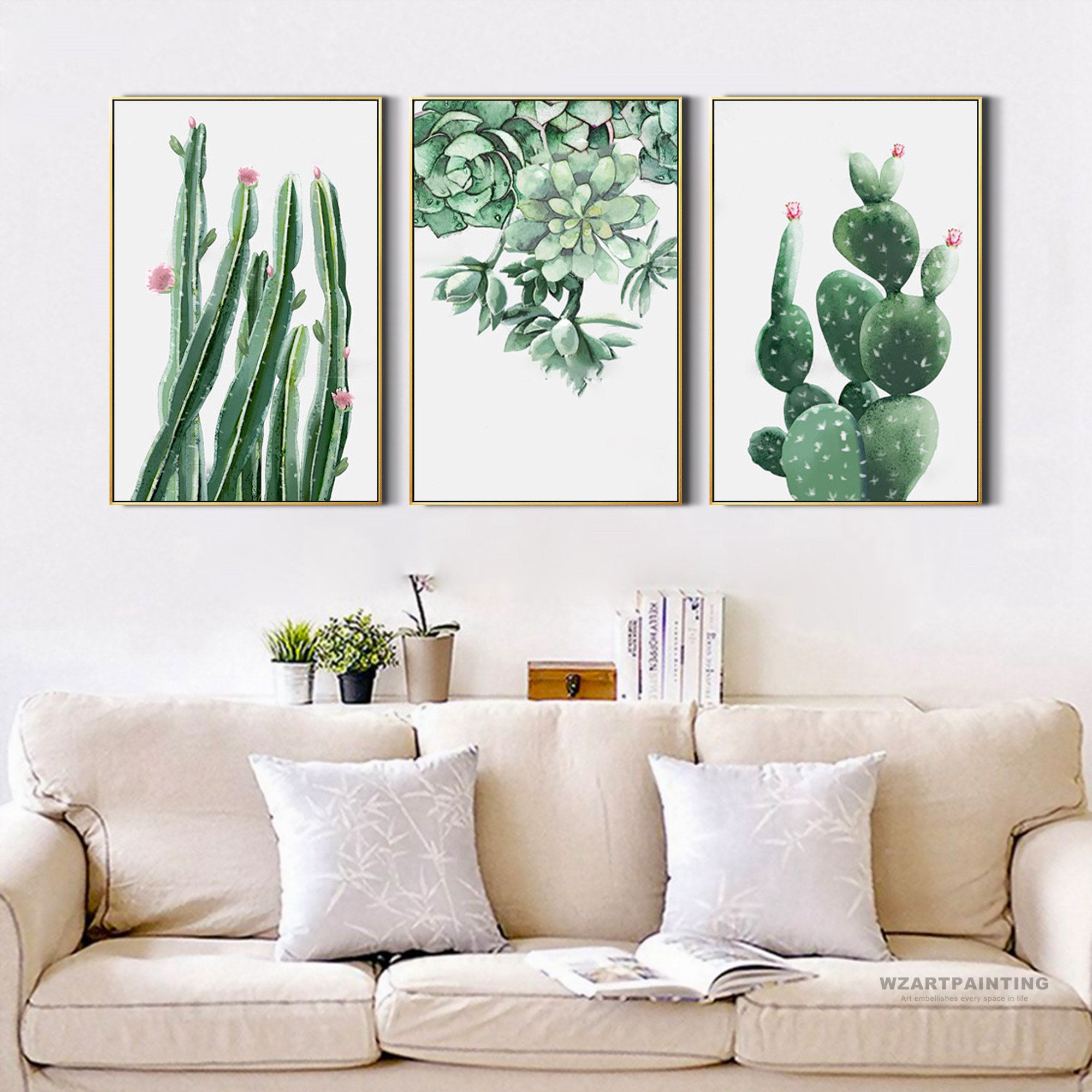 Framed wall art set of 3 prints modern nordic style cactus