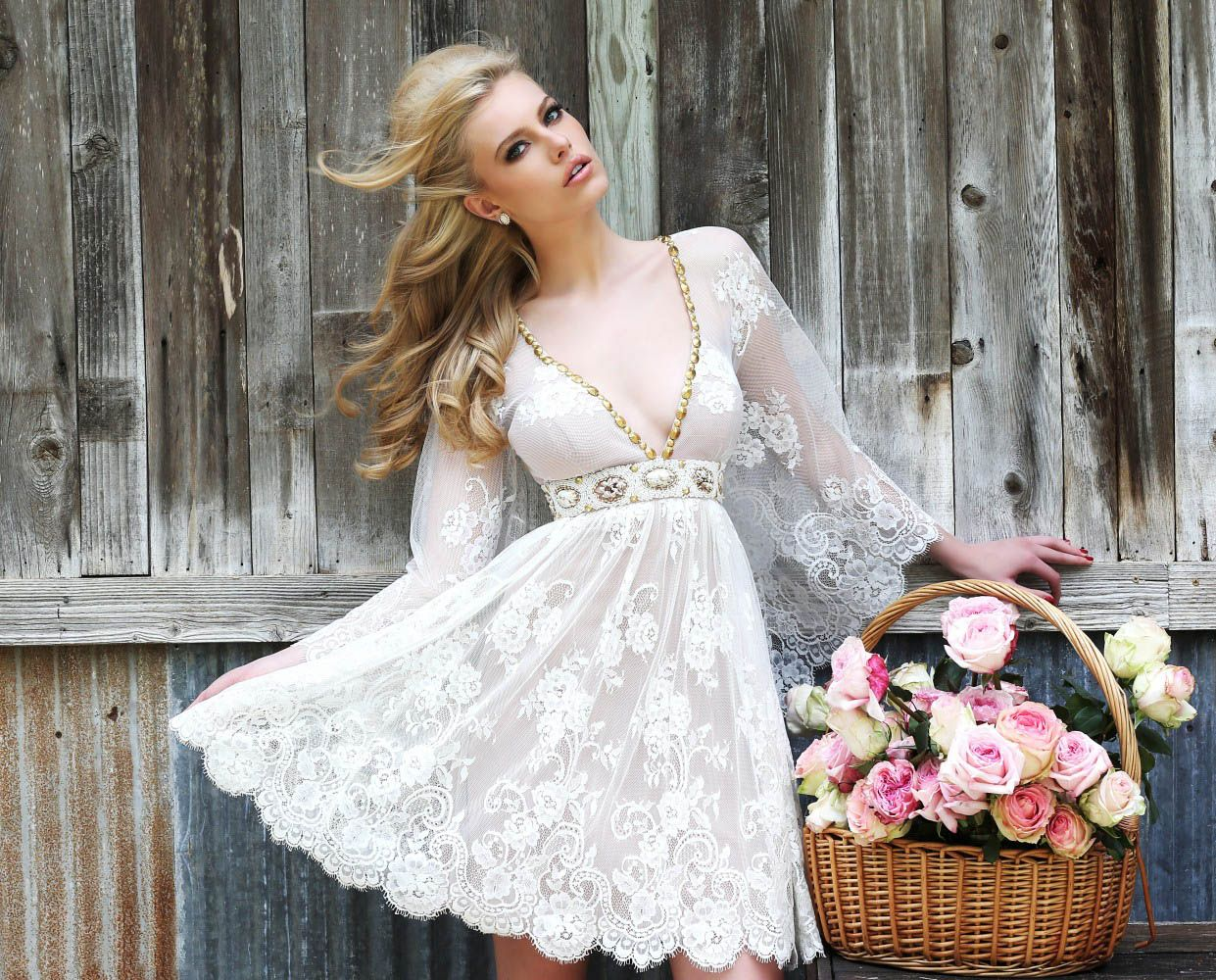 sexy plunging v-neck full sleeves white lace cocktail dress spring ...