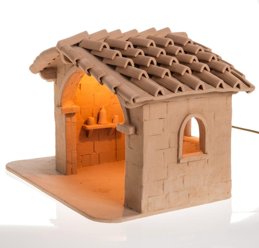 Casita iluminada para el pesebre en terracota deruta - Manualidades con cajas de madera ...