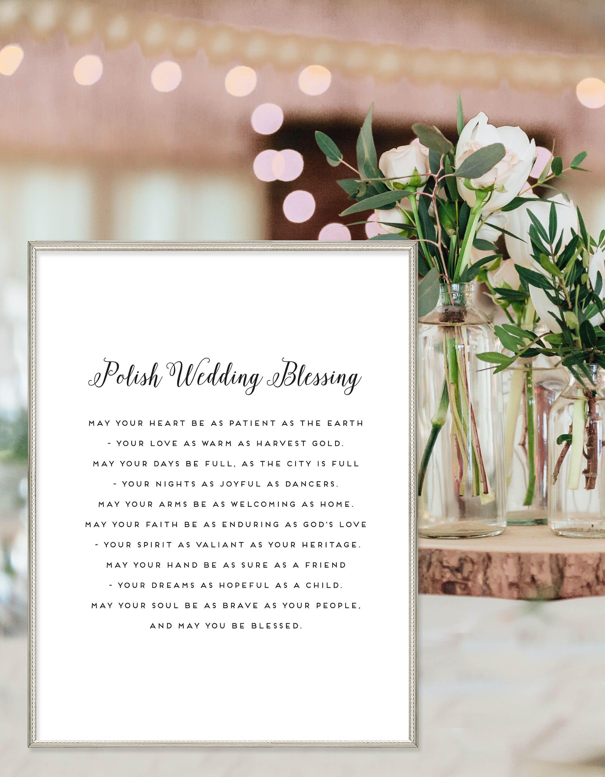 Polish Wedding Blessing Printable Wedding Gift Bridal Shower Polish Wedding Wedding Blessing Blessed Printable
