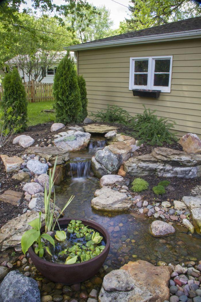 Garten Wasserfall Selber Bauen Ideen Gartengestaltung Steine Wasser