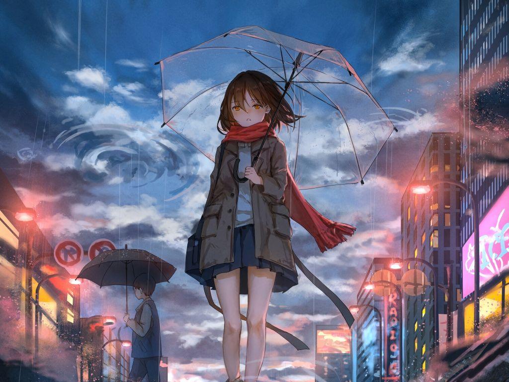 Desktop Wallpaper Girl With Umbrella Rain Anime Original Hd Image Picture Backgrounds 1e65db Hd Anime Wallpapers Anime Wallpaper Anime