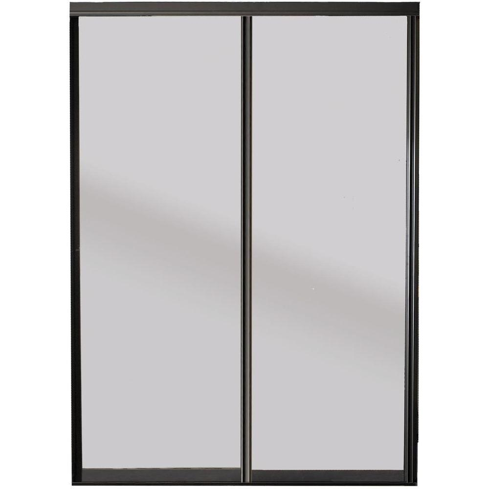 Contractors Wardrobe Silhouette 72 In X 81 In Bronze Frame Mystique Glass Aluminum Interior Sliding Sliding Doors Interior Contractors Wardrobe Sliding Doors