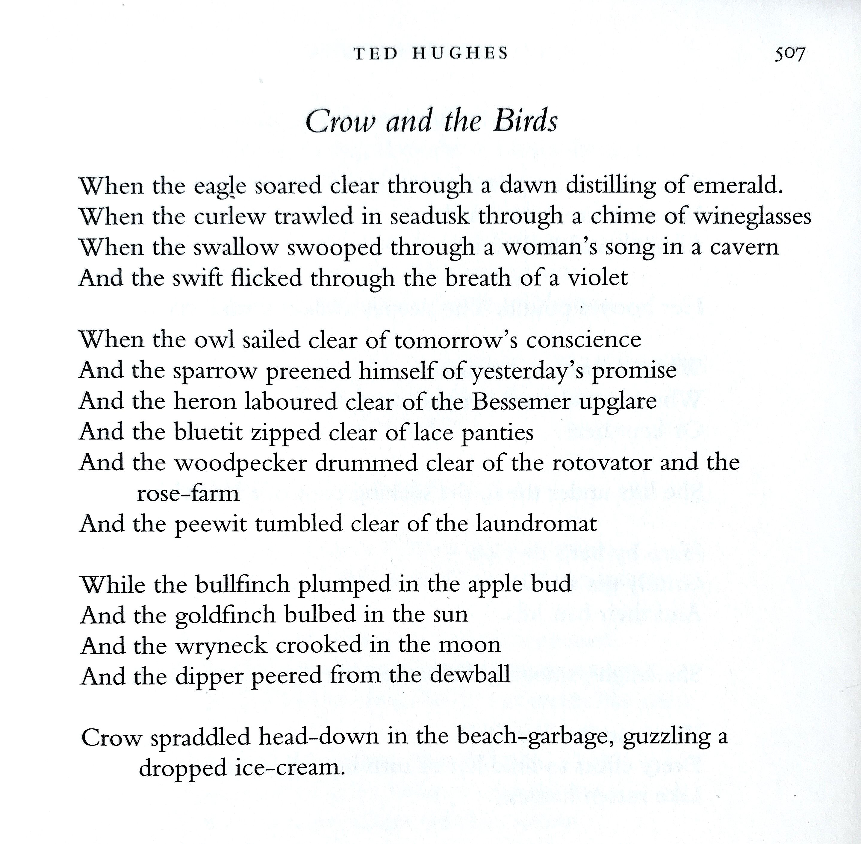 Ted Hughe Crow And The Bird Reference Harvill Book Of Twentieth Century Poetry In English Edited By M Plath Poem Sylvia Words Moon Wind Paraphrase