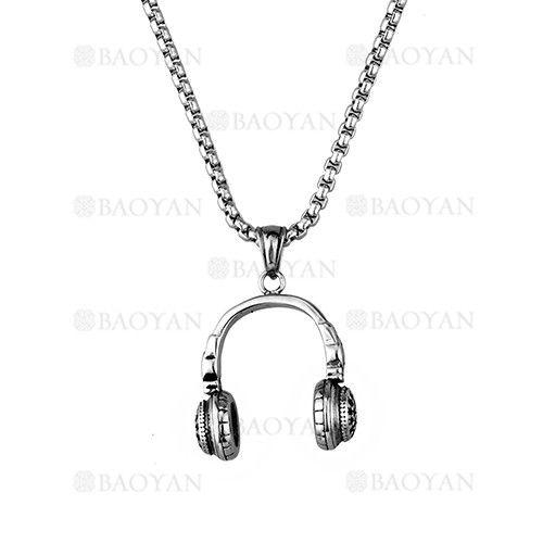 b15cd9a692db collar fina con dije auriculares plateado en acero inoxidable - SSNEG1133383