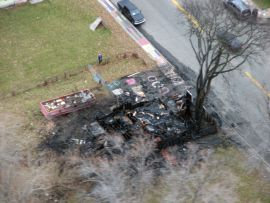 """""""All that remains of the Penny House at the Heidelberg Project after a fire. (Credit: Bill Szumanski/WWJ Newsradio 950)"""" http://detroit.cbslocal.com/2013/11/21/fire-destroys-yet-another-house-at-detroits-heidelberg-project/"""