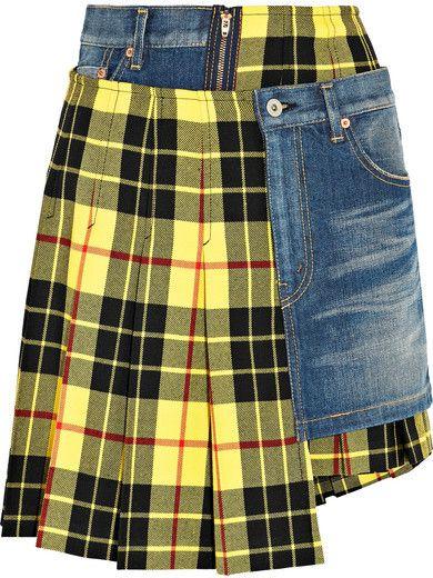 9615f6214 Junya Watanabe Paneled Tartan Wool And Denim Skirt - Bright yellow