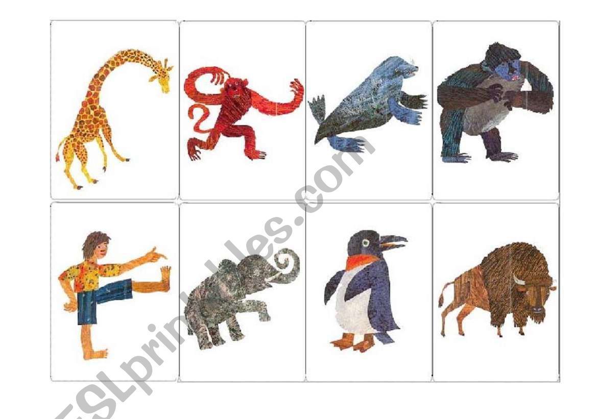 Memory Game Cards From Eric Carle S Book