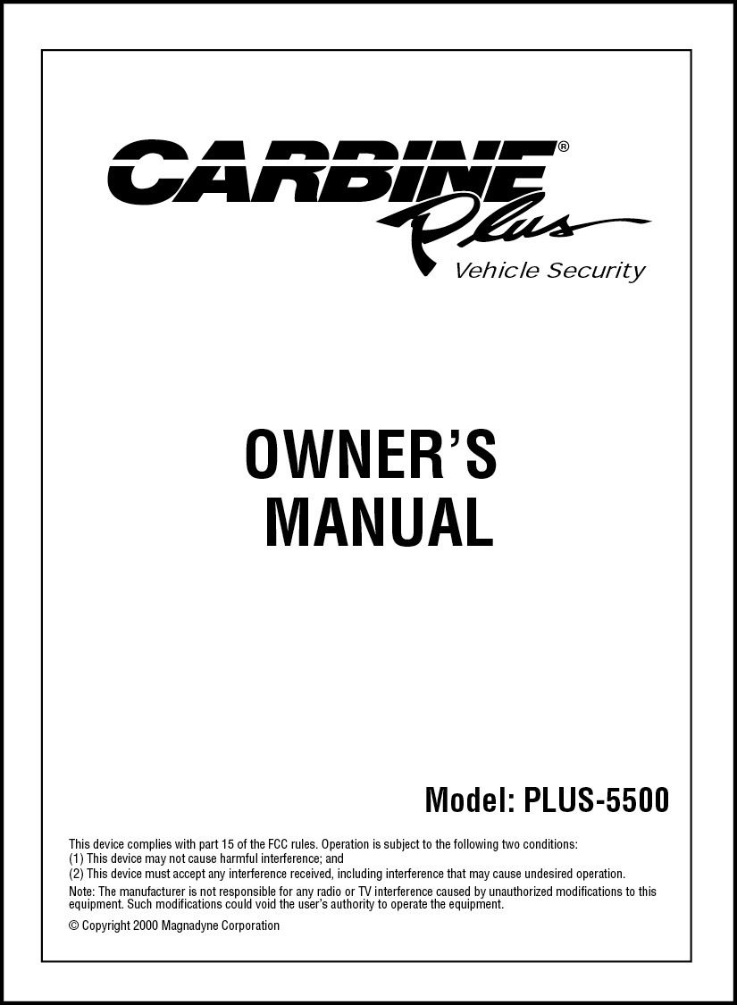 Carbine Plus  UserS Manual  Magnadyne Manuals
