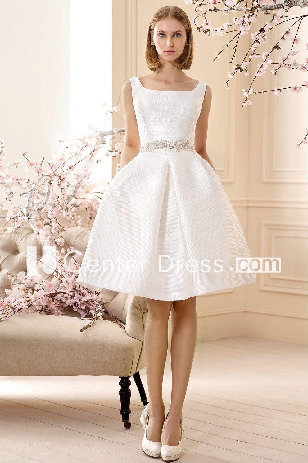 63badf82d7 A Line Jeweled Sleeveless Short Mini Square Neck Satin Wedding Dress ...