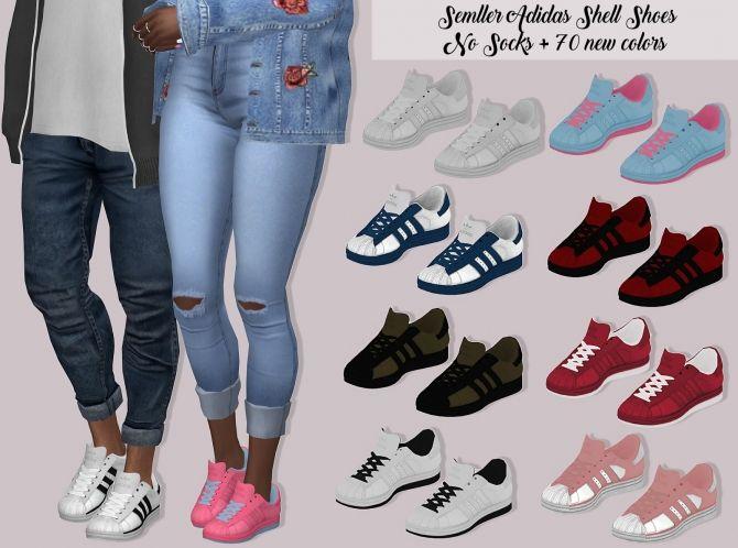 Semller Adidas SuperStar Lumy sims   Sims 4 cc shoes, Sims