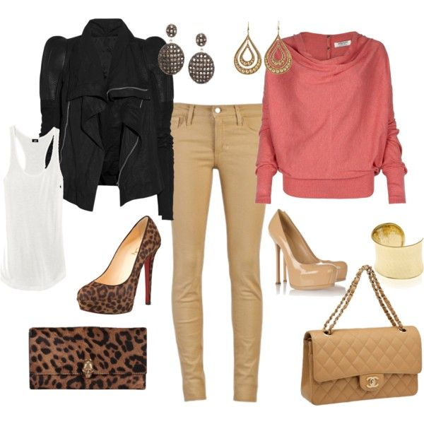 """BEIGE SKINNY DUO"" by sheadaisy on Polyvore"