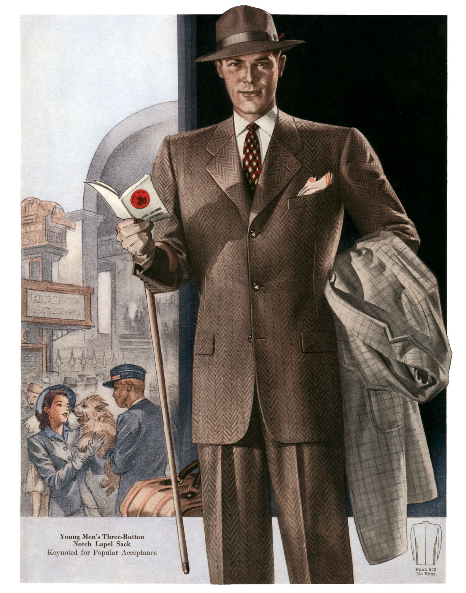 Tailored And Trim 1940s Fashion A Young Man Dressed For Travel 1000museums Fashion Illustration Vintage Vintage Mens Fashion Mens Fashion Jeans