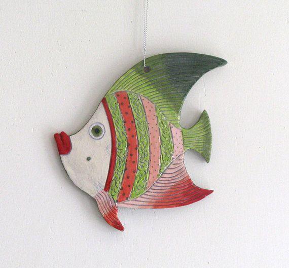 Handmade Ceramic Fish Decorative wall hanging by ceramicsartdaniel, $23.00