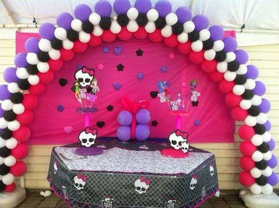 Monster High Balloon Arch With Images Birthday Party Balloon