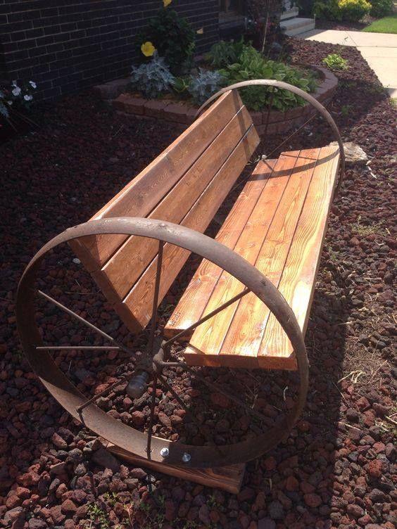 Wagon Wheel Bench Wood Amp Metal Home Decor In 2019