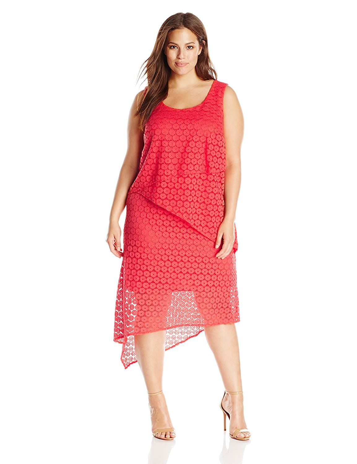 Agb Womens Plus Size Asymmetric Lace Dress To View Further