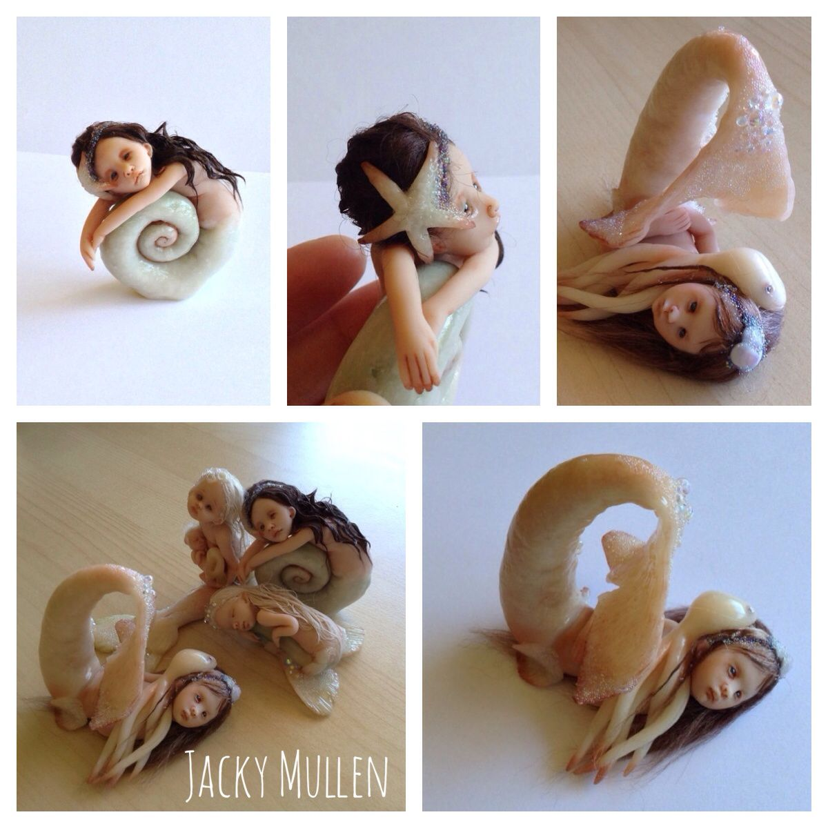 OOAK Handmade Clay Mermaid and Snail Sculpts by Jacky Mullen