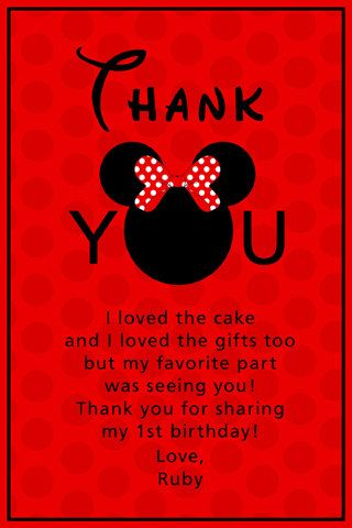 Thank You Card Wording Birthday Party Mickey Mouse Pinterest