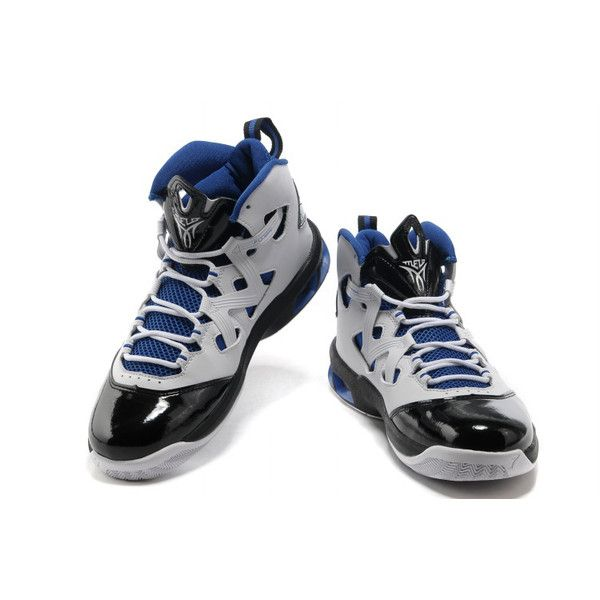 e1f280b2647 Jordan Melo M9 Carmelo Anthony IX Shoes Black/White/Blue JM9-001 via  Polyvore