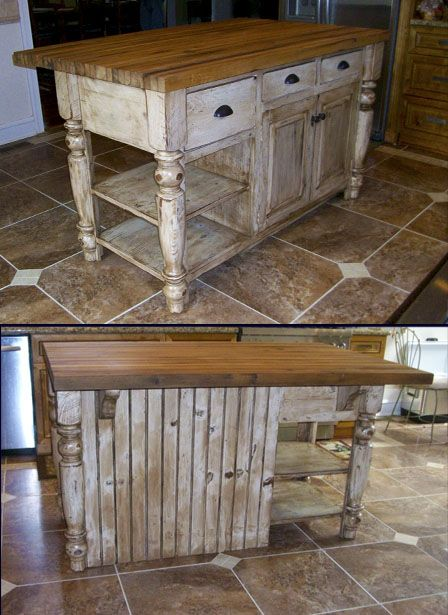 Made Of Reclaimed Barn Wood With Butcher Block Top Barnwood Furniture Barn Kitchen Rustic Kitchen