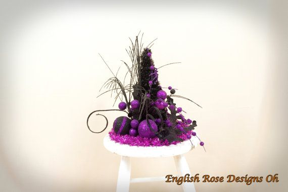 Halloween Tree Topper * Halloween Decoration * Purple and Black - witch decorations