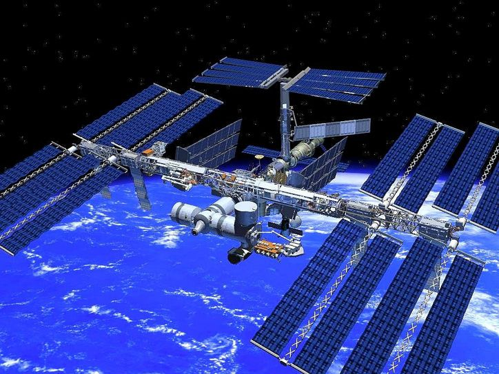 The International Space Station (ISS) is a habitable artificial satellite in low Earth orbit. It follows the Salyut, Almaz, Skylab and Mir stations as the ninth space station to be inhabited. The ISS is a modular structure whose first component was launched in 1998. Now the largest artificial body in orbit, it can often be seen at the appropriate time with the naked eye from Earth. The ISS consists of pressurised modules, external trusses, solar arrays and other components...