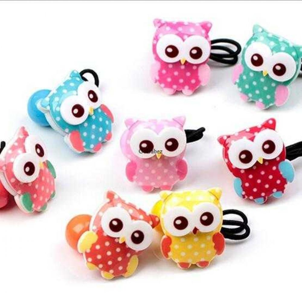 6pcs Colorful Owl Cartoon Design  Hair Band Ponytail Holder Girls Kids