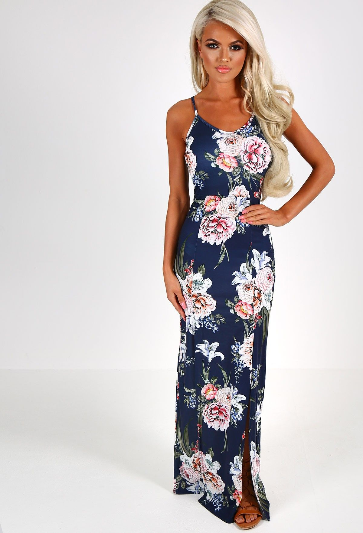 Navy maxi dress floral