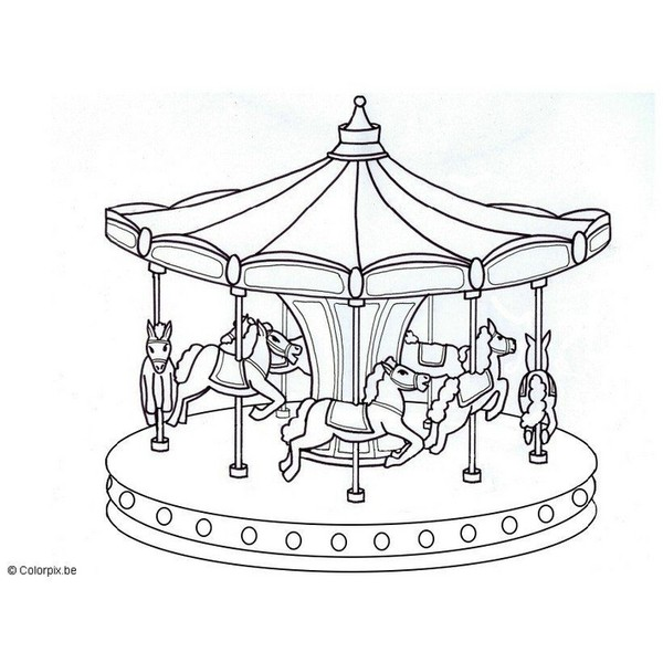 Coloring Page Merry Go Round Free Printable Realistic