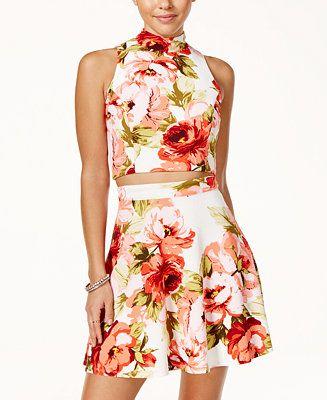 d81a68ca7 Emerald Sundae Juniors' 2-Pc. Floral-Print Fit & Flare Dress - Juniors  Dresses - Macy's