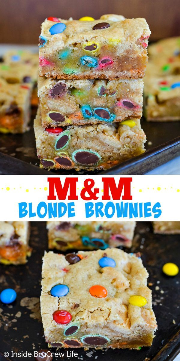 M&M Blonde Brownies - these soft and chewy cookie bars are loaded with lots of M&M candies! Make this easy recipe for any party, picnic, or bake sale. They are also perfect for after school snacks or lunch boxes! #blondebrownies #candy #easydessert #cookiebars #bakesaletreats #bakesaleideas