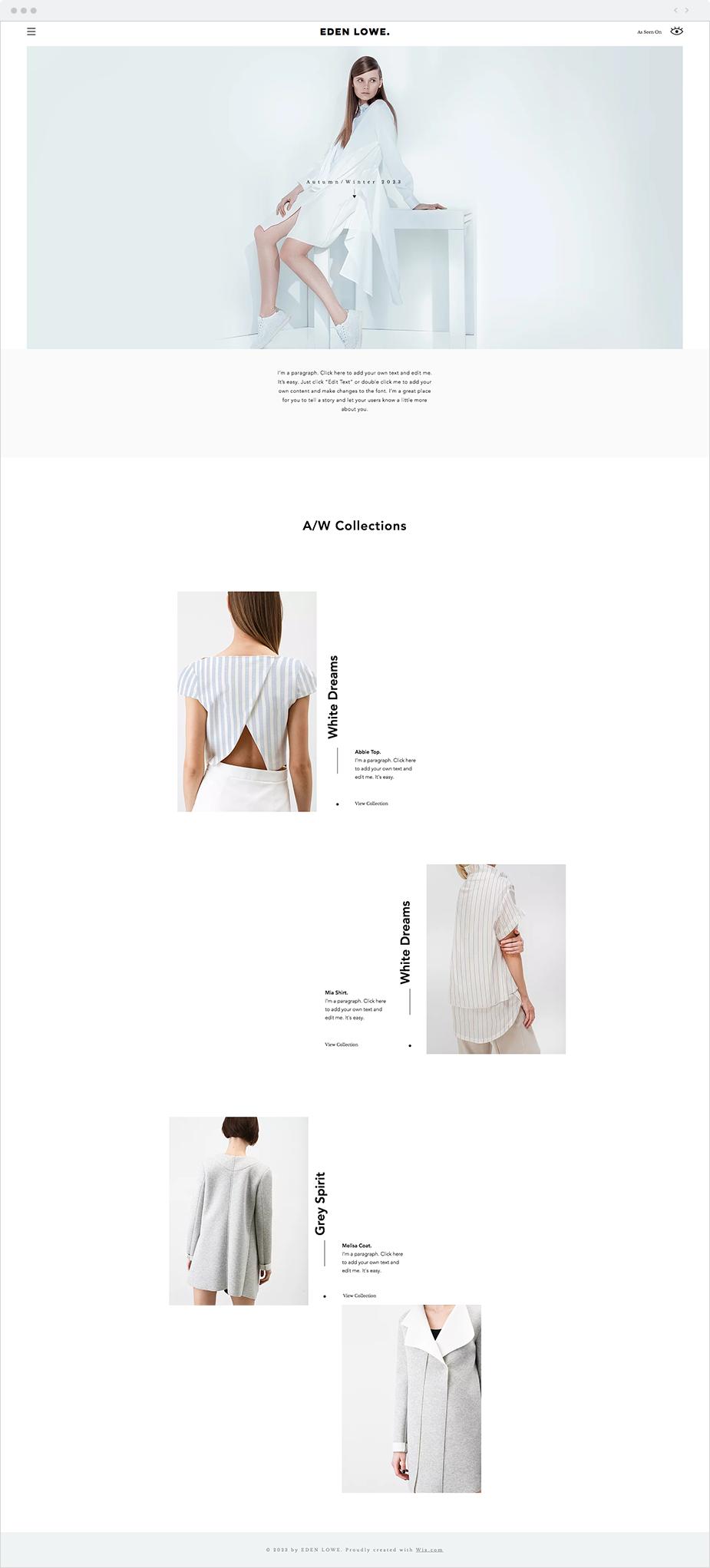 Fashion Designer Website Template Website Template Website Design Wix Website Templates