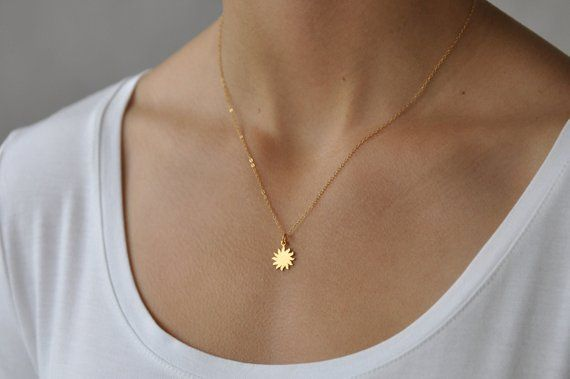 Gold Dainty Sun Charm Necklace Tiny Sun Necklace Minimalist Starburst Pendant Necklace Gold Filled Sun Star Delicate Layering Necklace