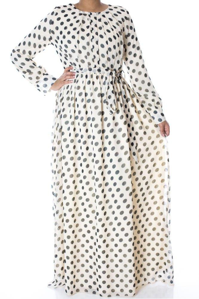 Ivory Polka dot maxi dress  http://www.kabayarefashion.com/ivory-polka-dot-maxi-dress.html