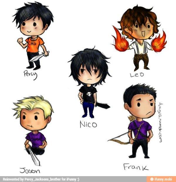 The guys fr Heroes of Olympus— Percy Jackson, Leo Valdez ...