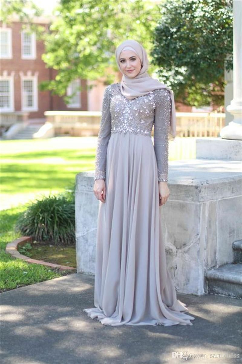 High Neck Muslim High Neck Hand Beading Bridesmaid Dress Grey Chiffon Floor Length Maid Dress For Guest With Kerchief From Saruidress 115 33 Dhgate Com Long Elegant Prom Dresses Fashion Dresses Prom [ 1200 x 800 Pixel ]