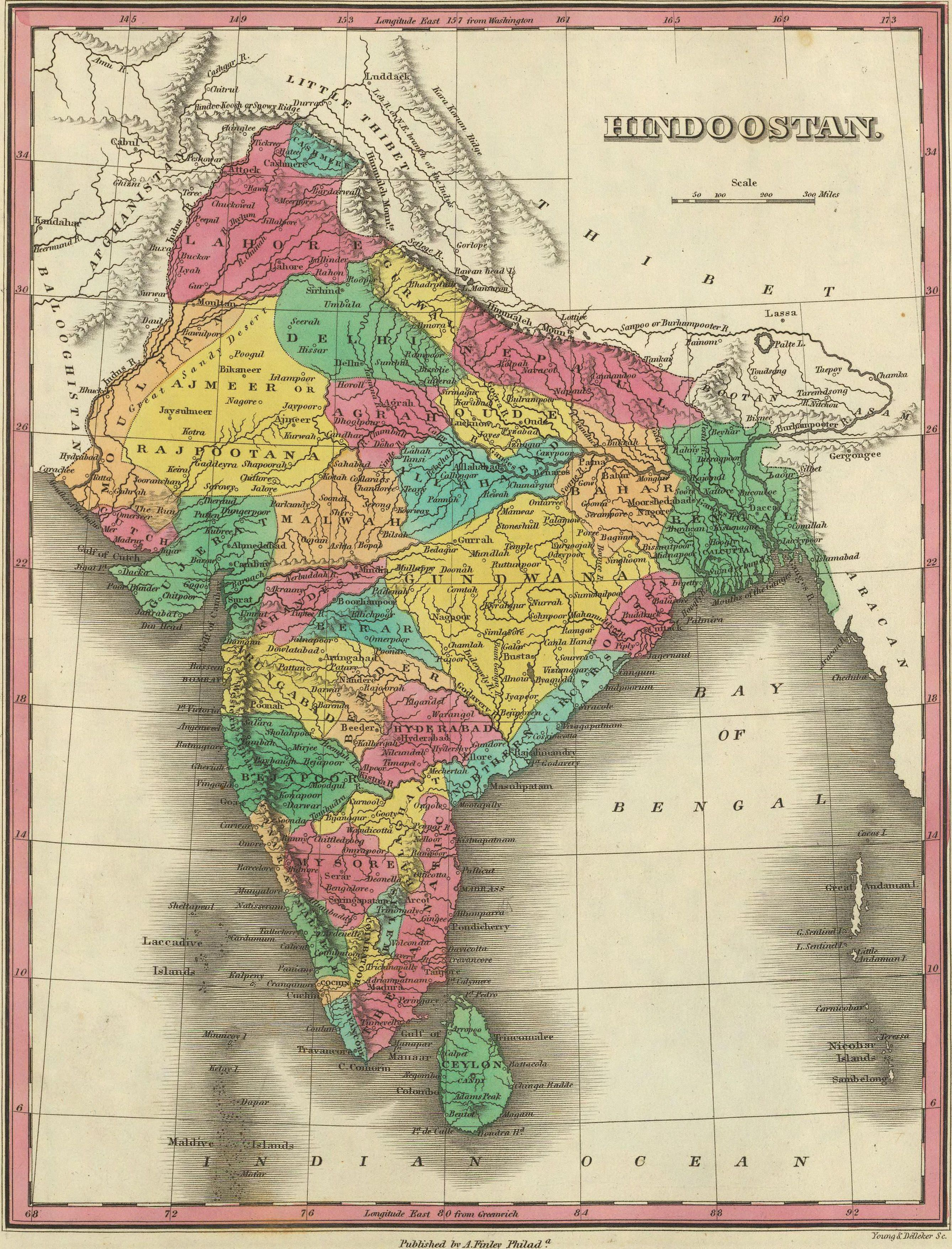Map of Hindostan or India 1831 by Anthony Finley Source http