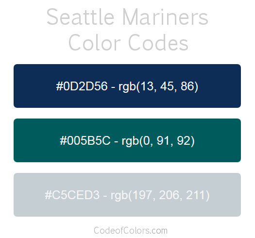 Seattle Mariners Team Color Codes Mlb Team Colors In
