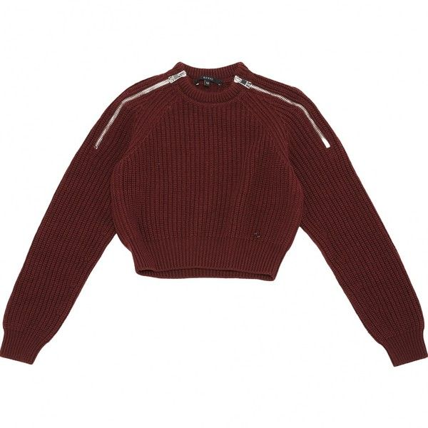 a5293d448 Pre-owned Gucci Wool Jumper ($148) ❤ liked on Polyvore featuring tops,  sweaters, shirts, sweatshirt, burgundy, red shirt, long-sleeve crop tops,  ...
