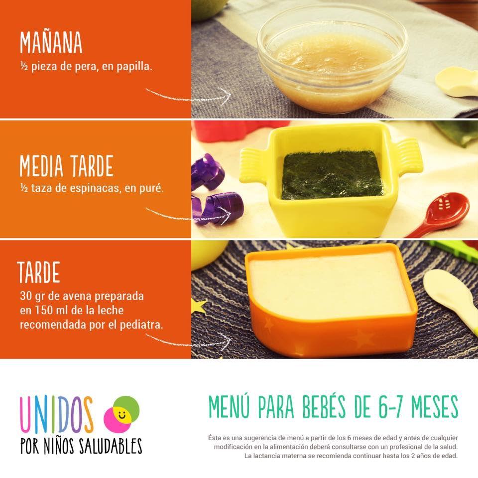 Menu 6 7 Meses Recetas De Comida Para Bebes Comida Bebe 6 Meses Comida Para Bebes