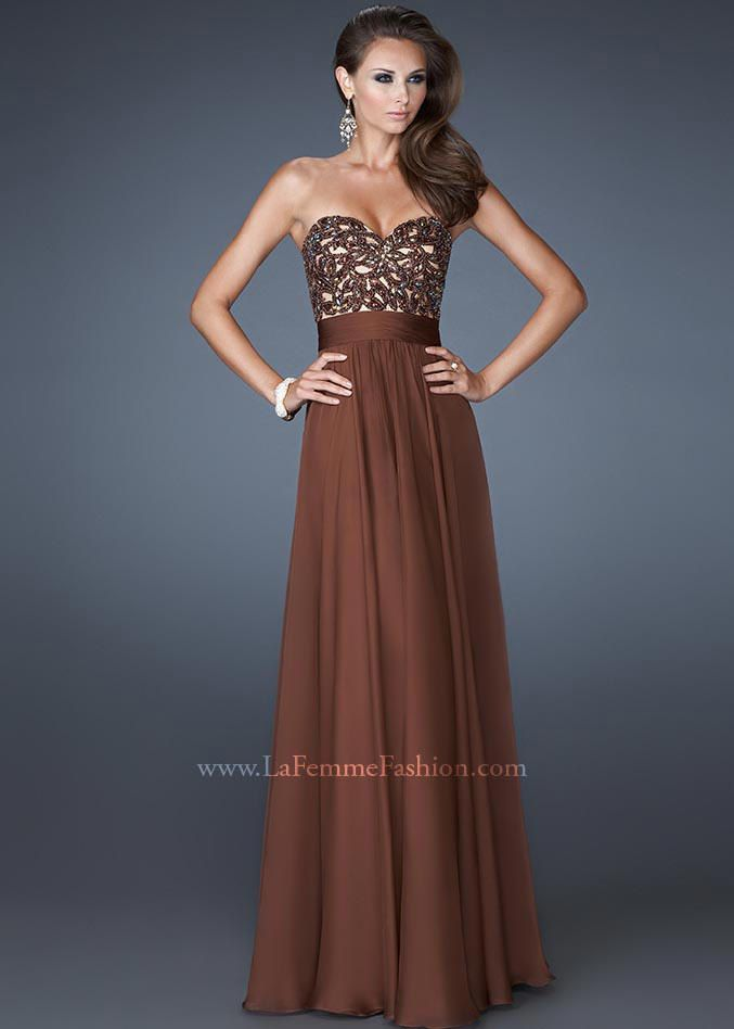 La Femme 18581 Beaded Strapless Gown Website Special #promcolorinspiration #CrushingonRissyRoos #brown #RissyRoos #LaFemme #favorite