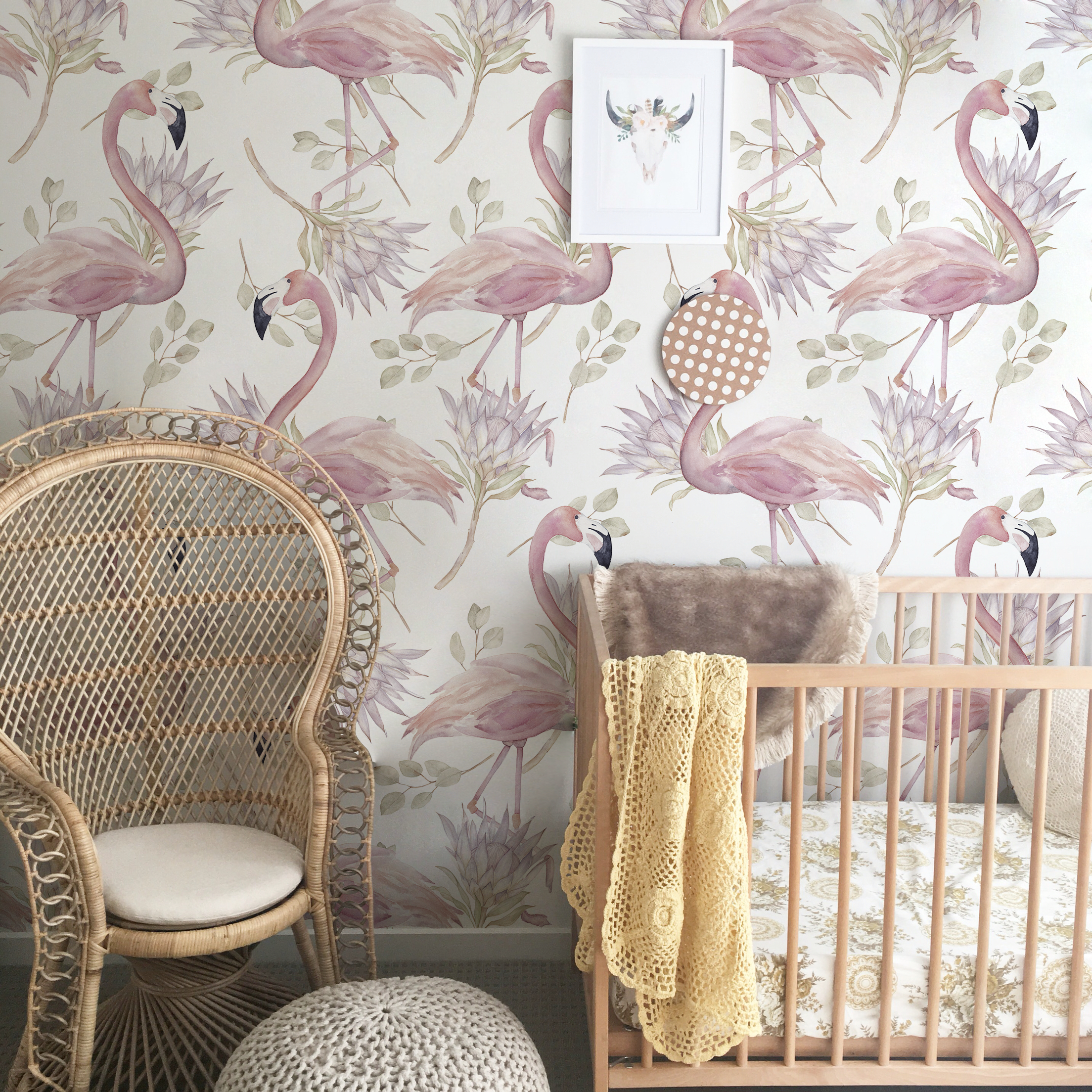 Pale Flamingo Removable Wallpaper Temporary wall covering