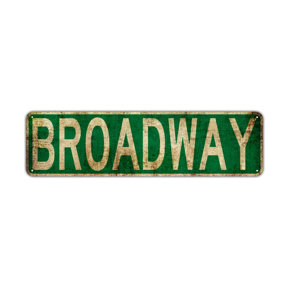 Broadway Street Sign Rustic Vintage Retro Metal Decor Wall Etsy Street Signs Custom Street Signs Funny Signs