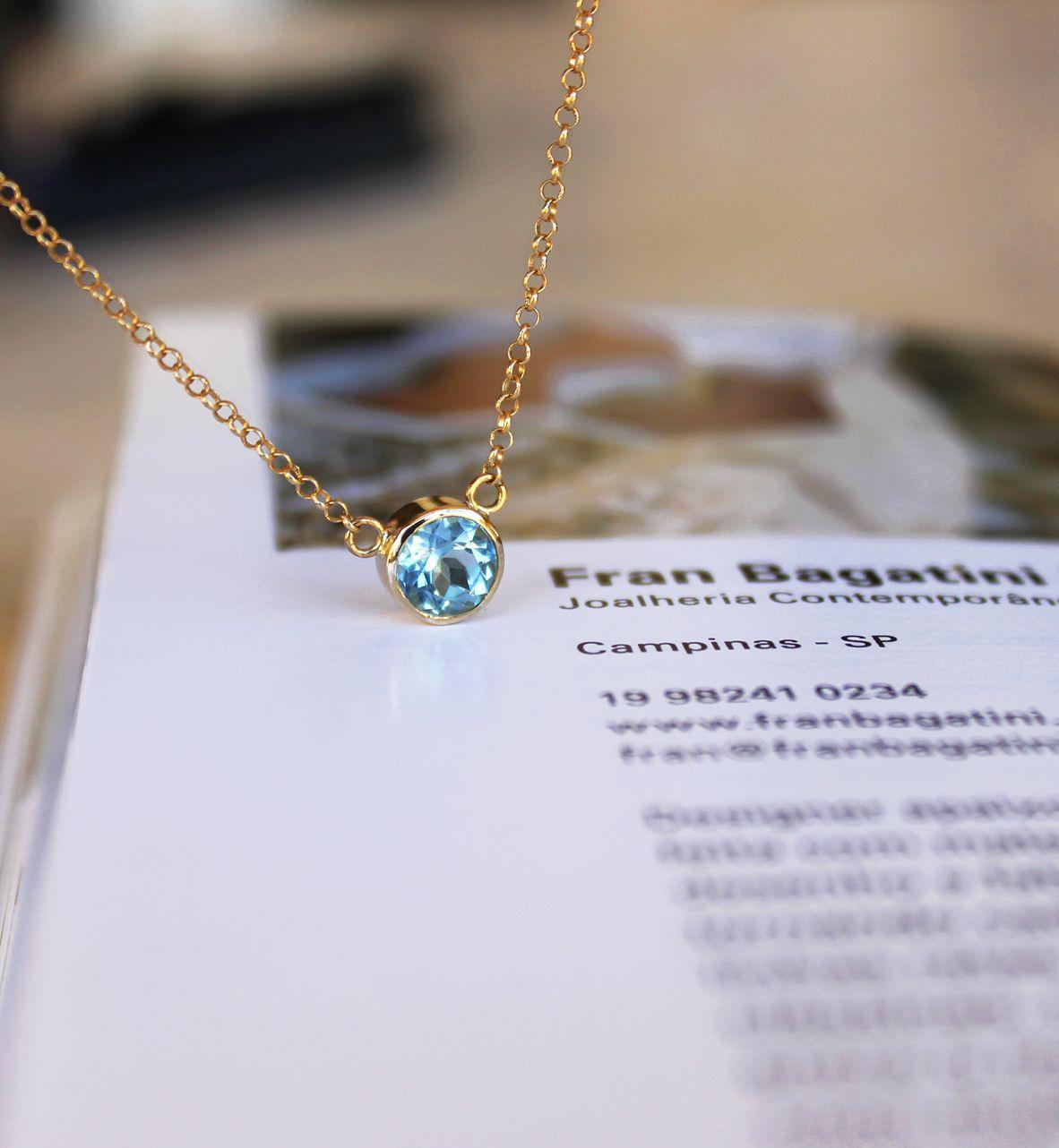 Encomenda feita com muito carinho! colar de ouro 18k com topázio azul.  www.franbagatini.com.br  handmade  jewelry  necklace  topazio  gold   wedding   ... 5c160819e5