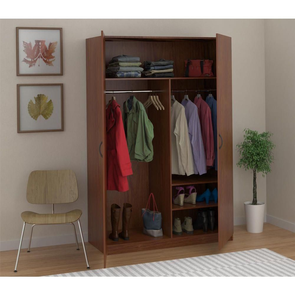 Ameriwood Wardrobe Storage Closet With Hanging Rod And 2 Shelves In American Cherry 7203091y The Home Depot Wardrobe Storage Wardrobe Closet Storage Closet Shoe Storage